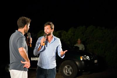 """Neri Marcorè e Matteo Pianezzi, autore e regista del cortometraggio """"smile"""" presentato nella prima serata del festival."""