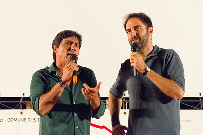 Actor neri Marcorè during a joke with actor Emilio Sofrizzi.