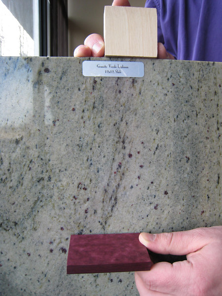 "Birch, ""Verde Typhoon"" and plum Paperstone"