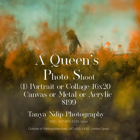 $199 Special Queen Photo Shoot with a Large Print and Online Storage with amazing add ons for holiday.  Family Picture time included or individual Session.