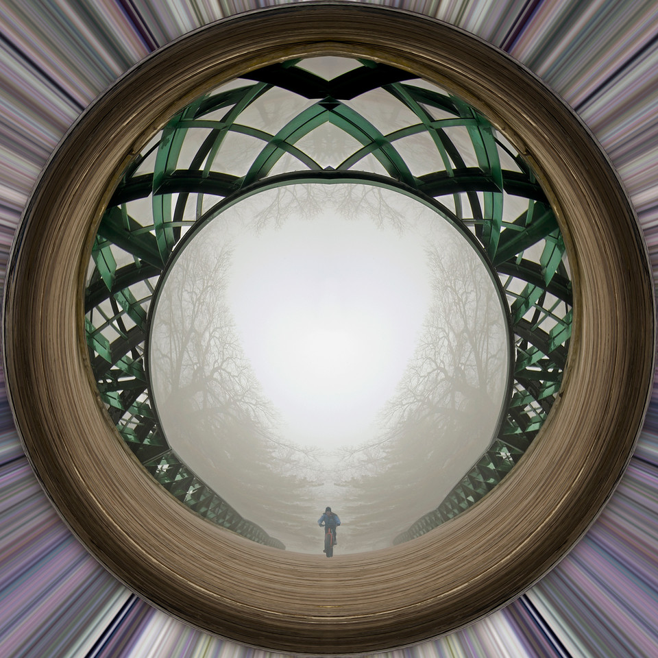 Fabyan Park foot bridge and bike in fog - polar projection.  version 1.
