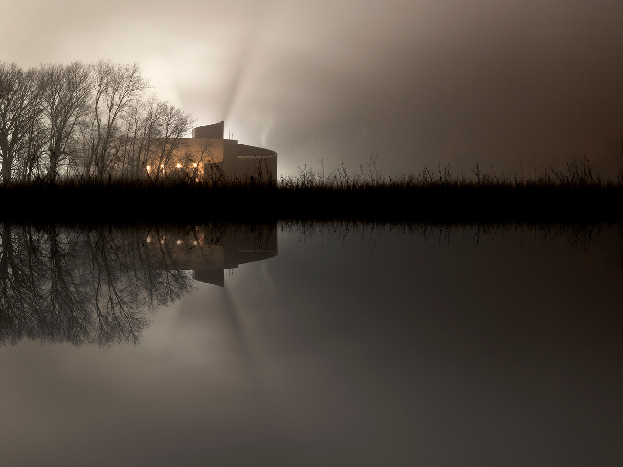 Fermilab, MINOS service building in fog.  I created the perception of a pond reflection.