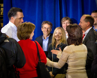 Ohio State Representative Jay Hottinger with the future president of the United States, Mitt Romney at Screen Machines Industry rally, Etna OH.