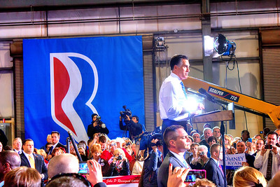Mitt Romney at election rally at Screen Machine Industries in Etna OH.