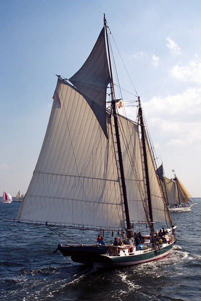 "Schooner ""Lady Maryland"" in the A/AA fleet start of the 2000 Great Chesapeake Bay Schooner Race Parade of Sail - Baltimore<br /> Nikon N80 35-70AFD Kodak EP Pro 100"