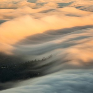 golden hour fog waves