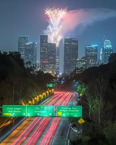 Los Angeles fireworks skyspace grand opening