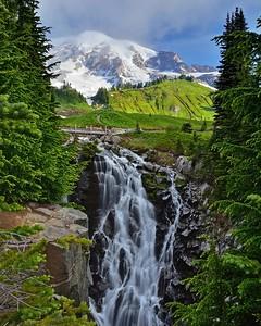 Mt. Rainier national park with Myrtle falls