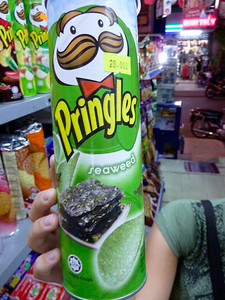 Seaweed flavored Pringles from Thailand   Courtesy of Anthony Milotic & Elise Reeks http://positiveworldtravel.com