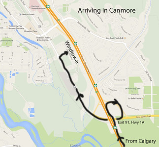 There are 4 Canmore exits.  The first is Three Sisters Parkway – go past this.  Turn right at the next exit, HWY 1A, Exit 91.  At the bottom of the ramp, turn right.  Go back under the highway.  Continue on this road for about 1.5 km.  You will go past the Heliport, a Ford Dealer, and several sets of condos/apartments on your right.   There is nothing but woods and railroad tracks on your left.  Go to the roundabout and turn right on Montane Road.  The road is only about 0.2 km long.  At the end is the Windtower Mountain Lodge right in front of you