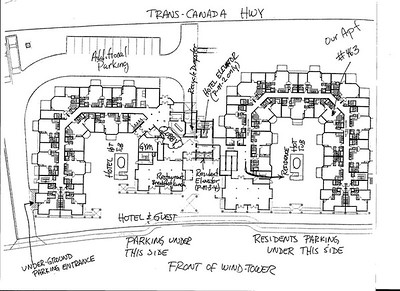 Layout of the Windtower  showing our condo in the far left inside corner.