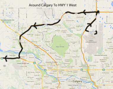 "Assuming you are flying into Calgary, take the Stony Trail ""ring road"" around Calgary from the airport as follows.  Exit the airport, turn left on Barlow Trail and immediately left again on Airport Trail.  After about 2 km, turn onto Hwy 2 NORTH, the Deerfoot Trail for about 3 km and exit onto Hwy 201 WEST, the Stony Trail ring road.  Follow it about 23 km to the Trans-Canada Highway, Hwy 1, WEST towards Banff."