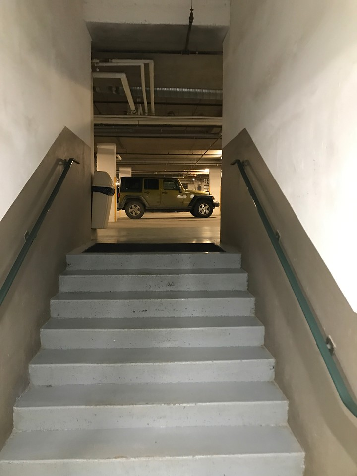 To go out, go back up the stairs.
