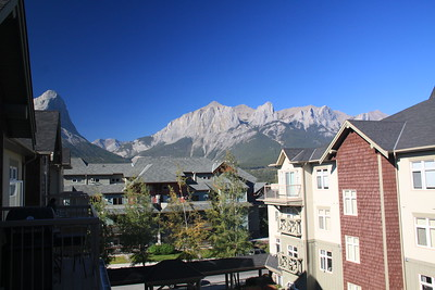 "The view from our balcony in the summer.  Ha Ling peak is on the left.  EEOR (East End Of Rundle, pronounced ""EEYOUR"") is on the right."