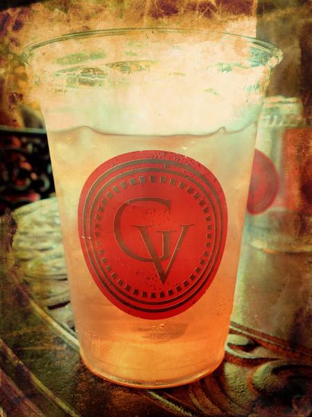 Peach ice tea in the summer.
