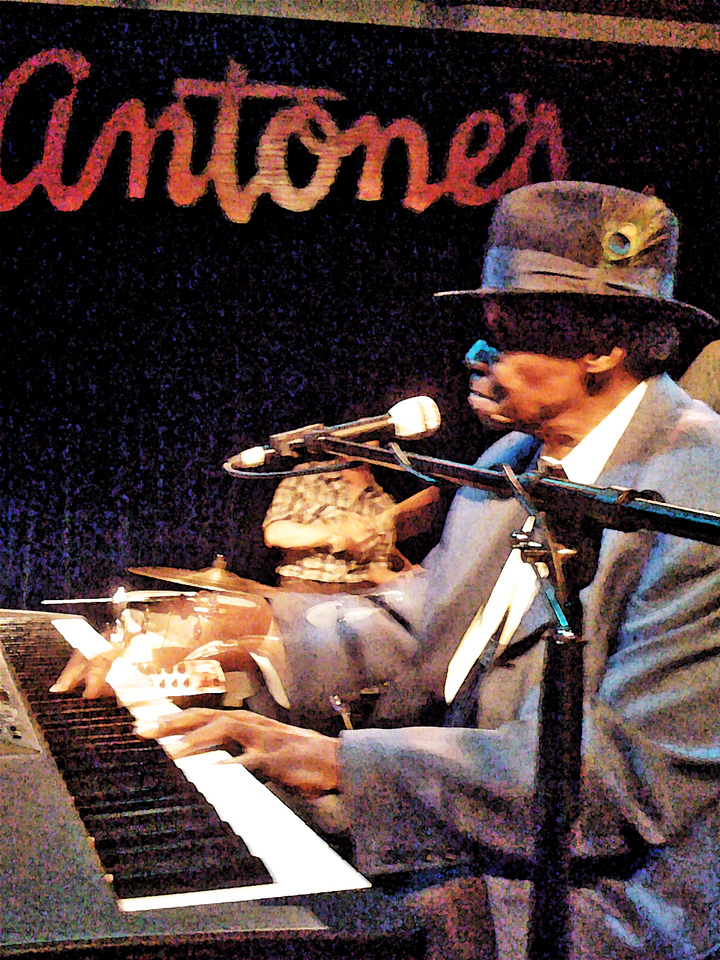 Pinetop Perkins performing during Marcia Ball's birthday bash at Antones on March 26, 2010. Art created from a photo by Joan Hughes.
