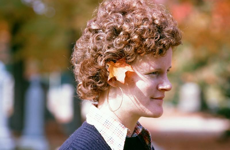 1973-10-XX - Carolyn Hayes with a leaf in her ear