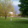 2010-05-04 - Spring day on Arts Quad with Sibley Dome in background and pending rain storm