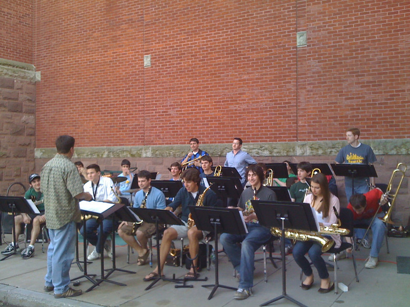 2010-04-06 - Cornell Jazz band playing behind Lincoln Hall