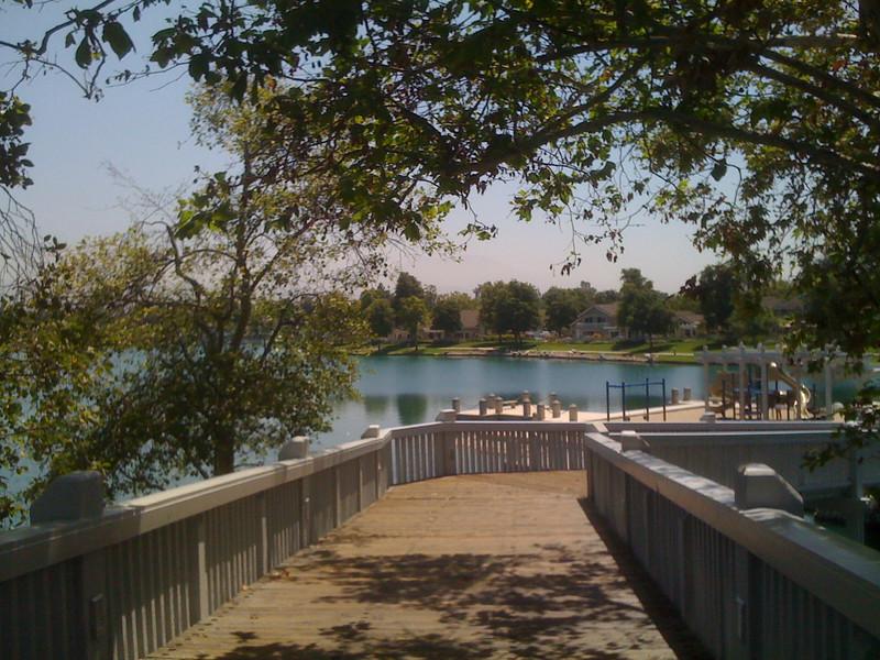 2010-06-24 - The wood bridge at the North Lake in Woodbridge Village, Irvine, CA, USA