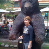 2010-07-29 - Rosemarie in downtown Aspen with bear sculpture