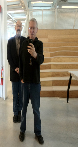 2012-01-20 - Jeff Chusid and Pike Oliver in front of the Milstein Fun Zone Mirror