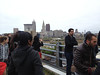 2012-04-21 - Cold URS students on a bridge with downtown Cleveland in the background