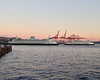 2013-07-25 - Two ferries with shipping cranes in backgroun, Seattle, WA, USA