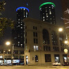 2014-02-01 - Westin Hotel with Seahawk colors ounder the cornice of the towers