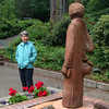 2014-06-28 - Rosemarie Oliver and the statue of St Placid at the Priory in Lacey, WA
