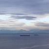 2014-01-03 - Elliott Bay with two frieghters and Olympic Mountains