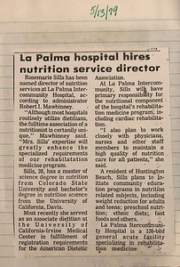 1979-05-13 - Rosemarie Sills (later Oliver b  1951) hired as nutition services director