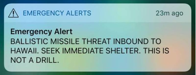 2018-01-13 - Emergency alert in Hawaii