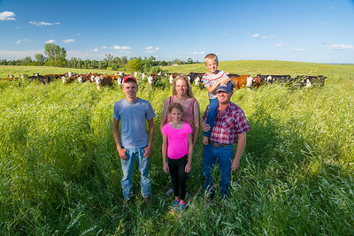 This is the Berge family (well, most of the family, one daughter is absent) backed by their herd of cattle.  In February 2015, the Berge family did something unique and extremely important with 284 acres of their grazing land by entering it into a conservation easement with the Minnesota Land Trust.  The conservation easement establishes a permanent conservation grazing system that creates and maintains critical grassland habitat while providing sustainable income for the family.