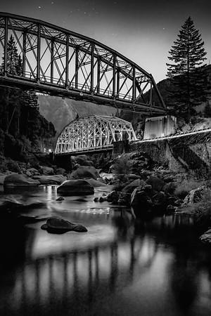 Tobin Bridges in Moonlight, Feather River Canyon, Plumas County, CA