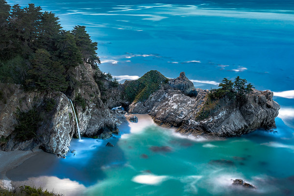 Full Moon behind McWay Falls, Julia Pfeiffer Burns State Park, Big Sur, CA