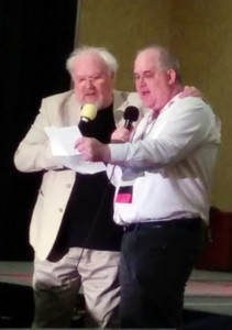Colin Baker (6th Doctor) with con MC, Todd McCaffrey