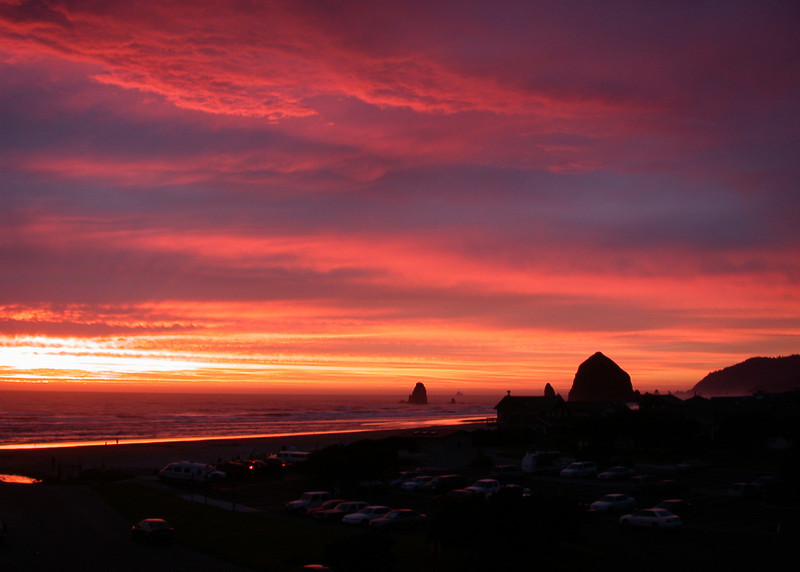 Sunset on Haystack Rock