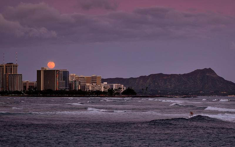 Moonlight Surfer at Waikiki