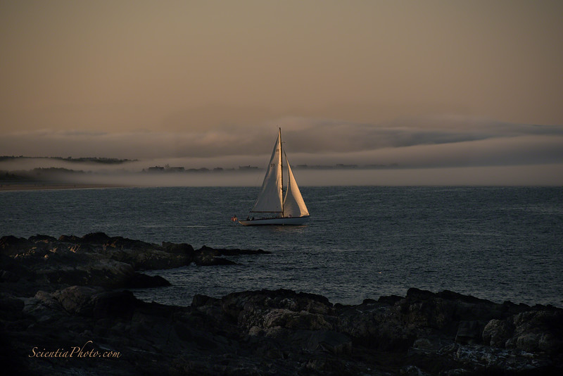 Sail Boat & Fog Banks at Sunset