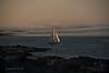 Sail Boat & Fog Banks at Sunset