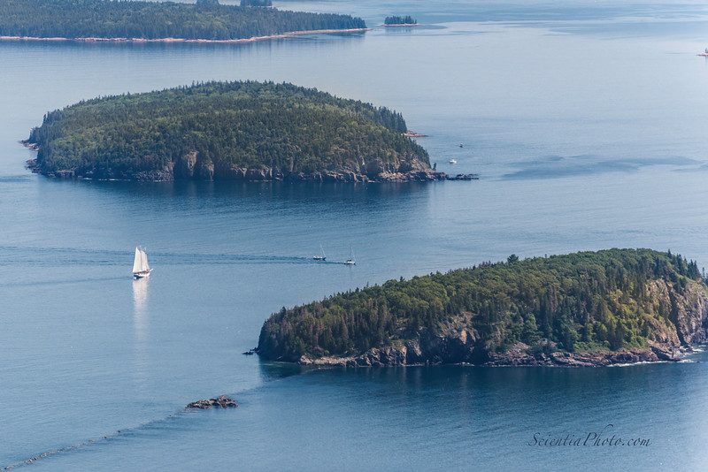 Schooner Navigates the Waters Between the Porcupine Islands as Seen from Cadillac Mountain