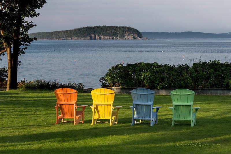 "Adirondack Chairs Overlooking ""Sheep Porcupine Island"""