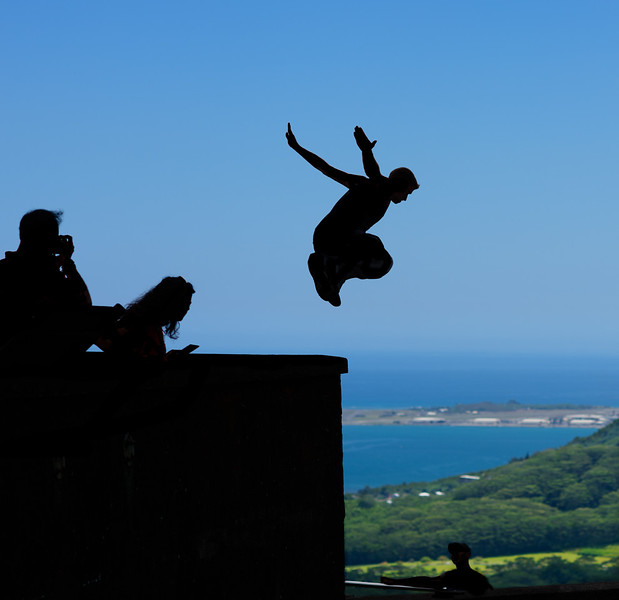 Leaping Man at the Pali Overlook