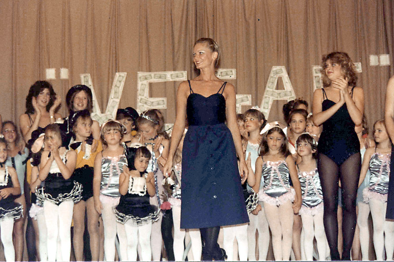 Linda Ray School of Dance recital at Southeast High School. Late 1970s. Linda is at center.