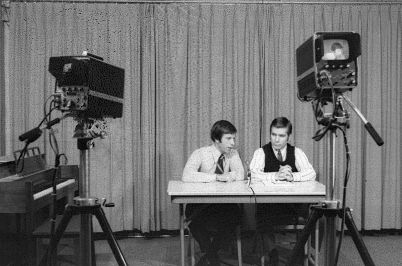 Dalton Junior College Basketball Coach Melvyn Ottinger interviewed by The Daily Citizen-News Sports Editor Doug Hawley on Channel 13 in Dalton in the mid 70s. I have several shots of this interview (and some other stuff) that I have never printed or scanned from the negatives, which were damaged during processing. I passed them up over the past 40 years due to the quality.