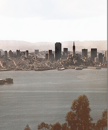 The San Francisco skyline, as viewed from across San Francisco Bay in the Berkeley Hills.  (June 1973)