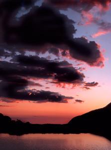 Sunset over June Lake, the Sierra Nevada. (Summer 1971)