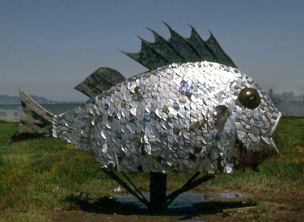 A scrap-metal fish sculpture, 1974; tidal flats near Berkeley, California, at what is now Shorebird Park.