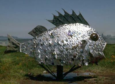 A scrap-metal fish sculpture, 1974; tidal flats near Berkeley, California, at what is now Shorebird Park.